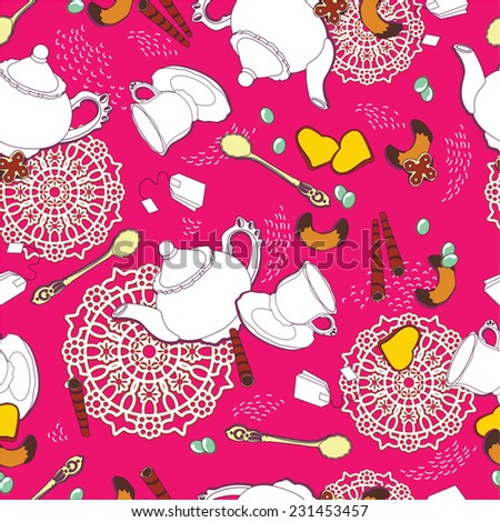 vintage morning tea background. tea time background. seamless pattern for design,vector illustration - stock vector