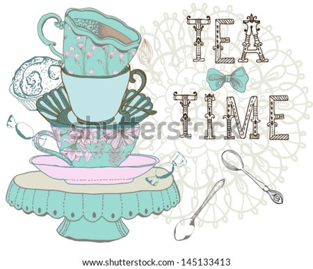 Vintage morning tea time background. Illustration for design, VECTOR - stock vector