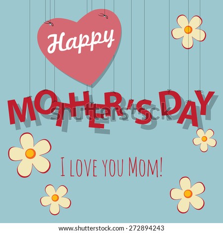 Vintage Mother's Day card with heart and flowers - stock vector