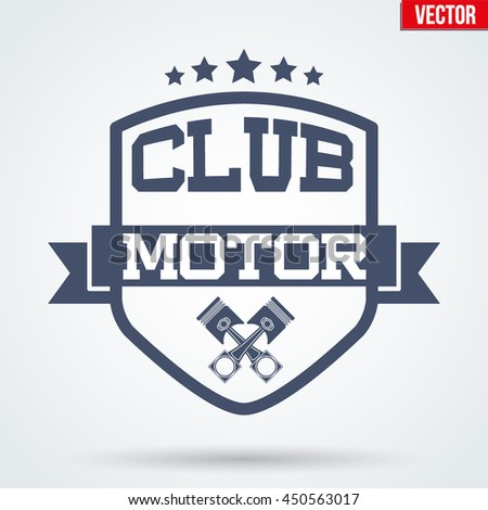 Vintage Motor Club Signs and Label with stars and pistons. Emblem of bikers or drivers and riders. Editable Vector illustration Isolated on background. - stock vector