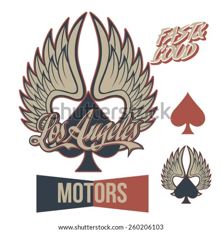 Vintage Motor Cycle Winged Ace,  - stock vector