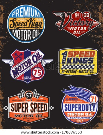Vintage Motor Oil Signs and Label Set - stock vector