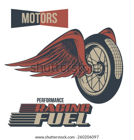 Vintage Motor Winged Wheel Racing - stock vector