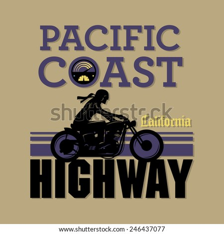 Vintage Motorcycle adventure poster, vector illustration - stock vector