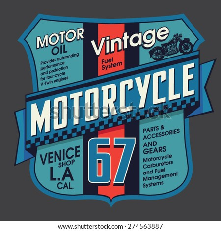 Vintage motorcycle embroidery typography, t-shirt graphics, vectors - stock vector