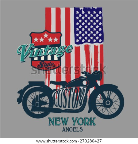 Vintage motorcycle from New York. T-Shirt Design. Vector textile illustration. Cell Phone Case graphic. - stock vector