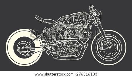 Vintage Motorcycle hand drawn vector - stock vector