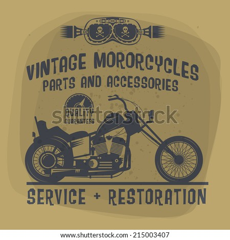 Vintage Motorcycle label or poster, vector illustration - stock vector