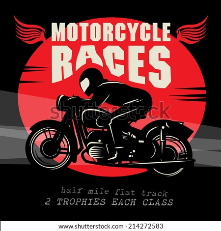 Vintage Motorcycle race poster, vector illustration - stock vector