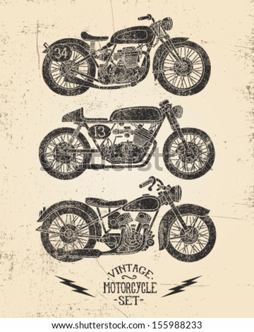 Vintage Motorcycle Set - stock vector