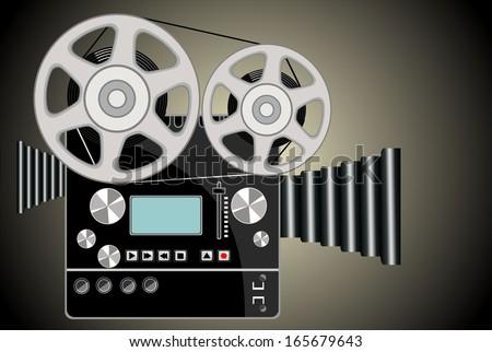 Vintage movie camera  - stock vector