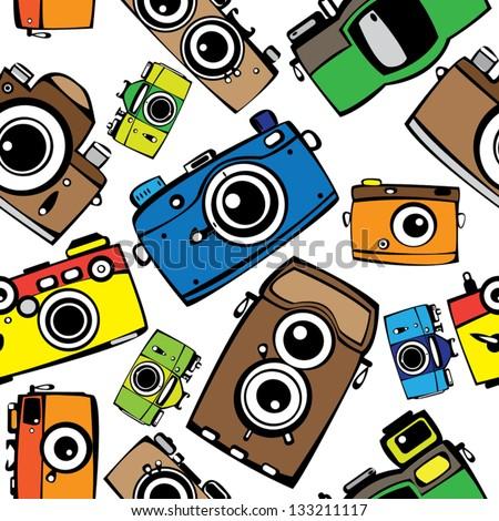 vintage multicolor film photo cameras vector seamless pattern - stock vector