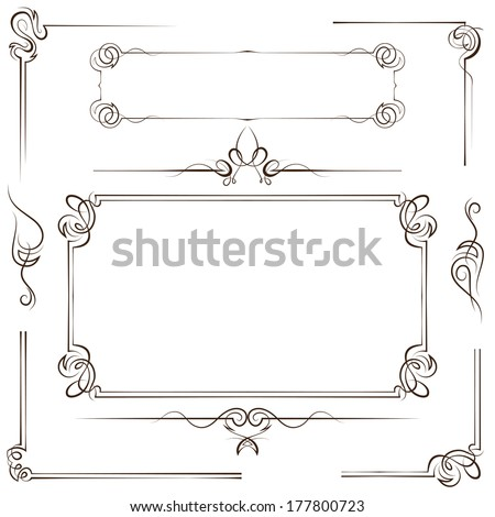 Vintage multilayer set vector frame and border with swirls - stock vector