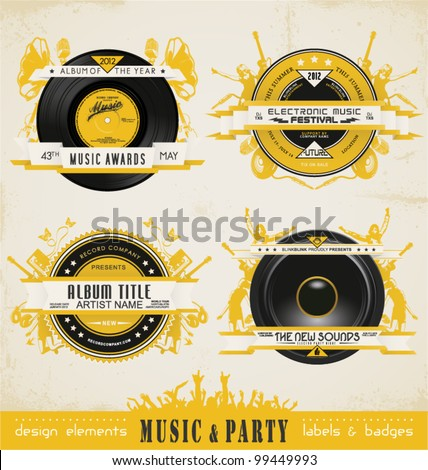 Vintage Music Labels and Badges. - stock vector