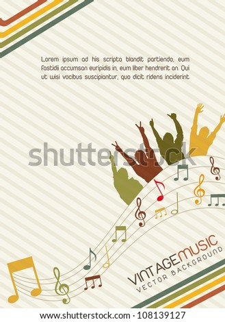 vintage music with silhoutte men, vintage. vector illustration - stock vector