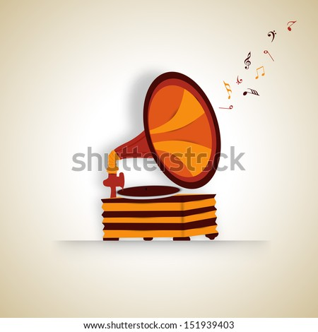 VIntage musical background with gramophone. - stock vector