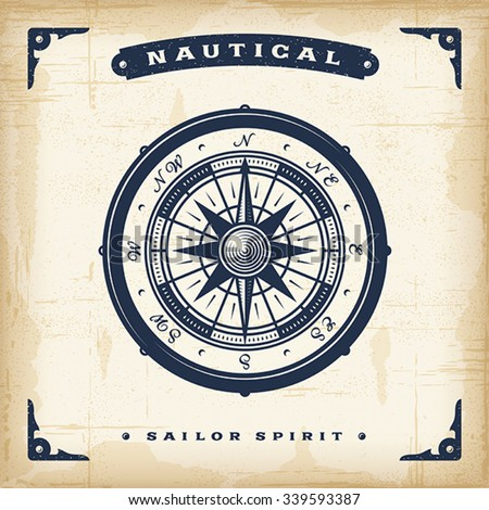 Vintage Nautical Compass. EPS10 vector illustration. Use gradient mesh and transparency.  - stock vector