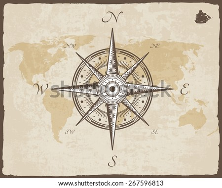 Vintage Nautical Compass. Old Map Vector Paper Texture with Torn Border Frame. Wind rose - stock vector