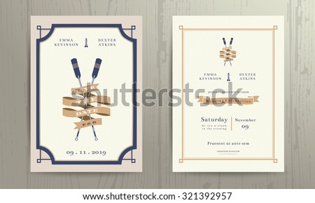 Vintage nautical twin paddles ribbon wedding invitation card template on wood background - stock vector