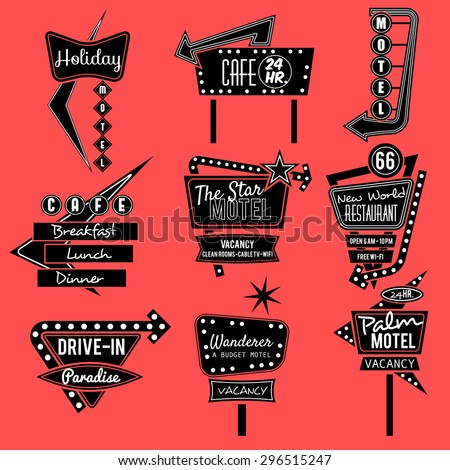 vintage neon sign,road trip,black and whit old sign - stock vector
