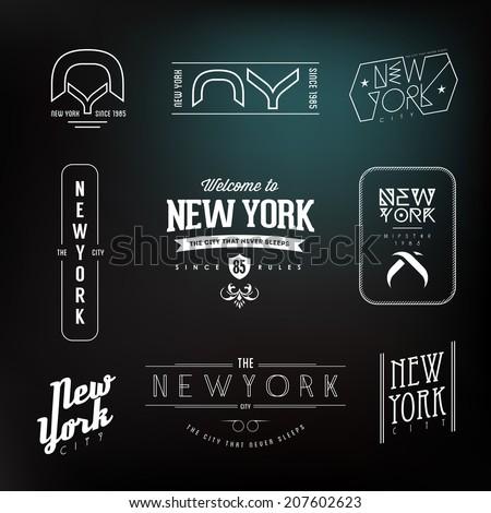 Vintage New York City Hipster Labels set. Vector design. - stock vector