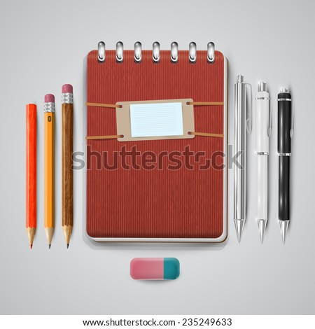 Vintage notebook with pens, pencils and eraser, vector - stock vector