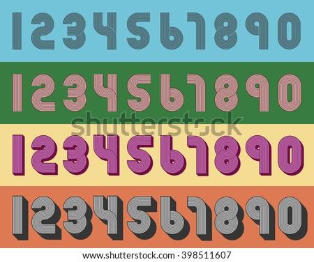 Vintage numbers - stock vector