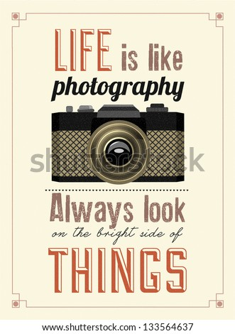 Vintage Old Camera Typographical Poster - stock vector