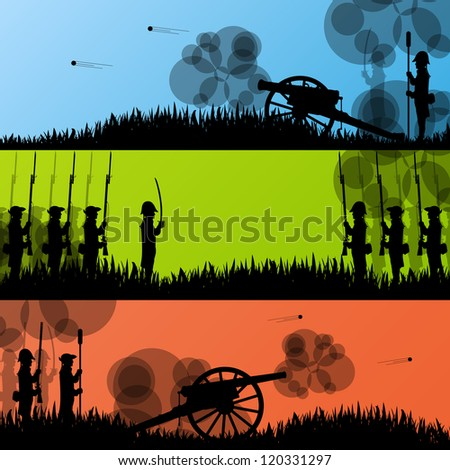 Vintage old civil war battle field warfare soldier troops and artillery cannon guns detailed silhouettes illustration collection background vector - stock vector