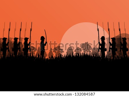 Vintage old civil war battle field warfare soldier troops and guns detailed silhouettes illustration landscape in countryside forest field background vector - stock vector