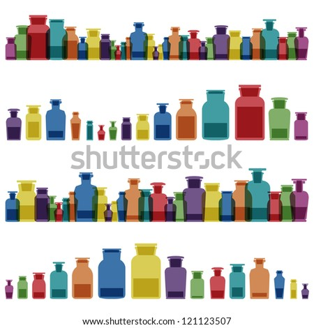 Vintage old glass jars, bottles and medicine chemistry potions colorful glassware detailed illustration collection background vector - stock vector