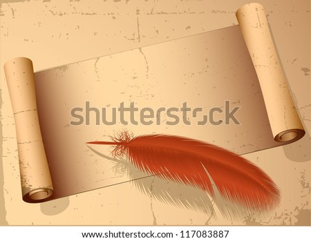 Vintage old paper scroll and pen. Vector. - stock vector