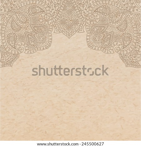Vintage old paper texture with vector traditional oriental paisley ornament, indian style decorative background, hand drawn asian ornament as engraving style print, copy space card template - stock vector