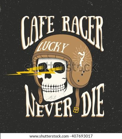 Cafe Racer Logo Sticker Old School