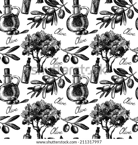 Vintage olive seamless pattern. Hand drawn sketch vector illustration - stock vector