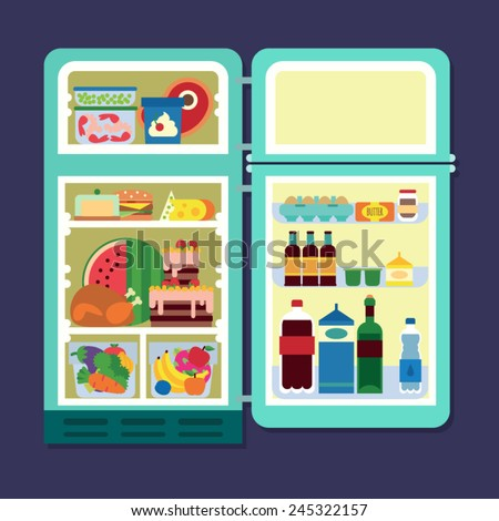 Vintage opened refrigerator - full of food - stock vector