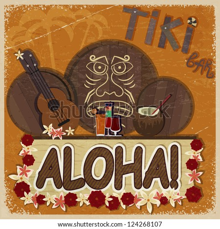 Vintage orange card - signboard tiki bar - with the image ukulele, drums and masks. eps10 - stock vector