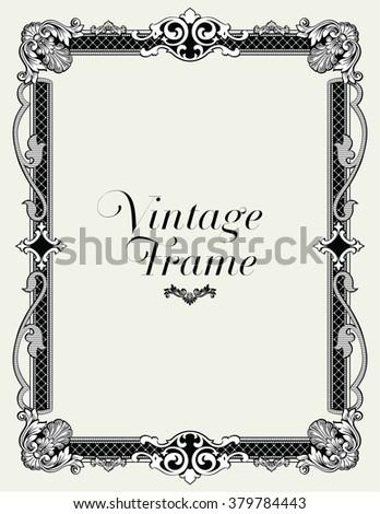 Vintage Ornament Border. Decorative Floral Frame Vector. - stock vector