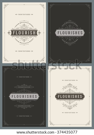 Vintage Ornament Greeting Cards Vector Templates Set. Retro Luxury Invitations, Royal Certificate, Book Covers. Flourishes frame. Vintage Background, Vintage Frame, Vintage Ornament, Ornaments Vector. - stock vector