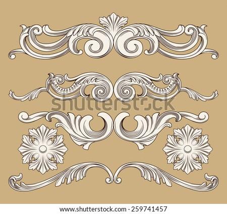 vintage ornament set - stock vector