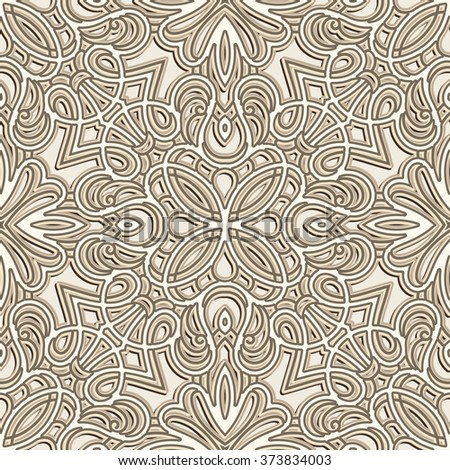 Vintage ornamental background in neutral color, white vector seamless pattern  - stock vector