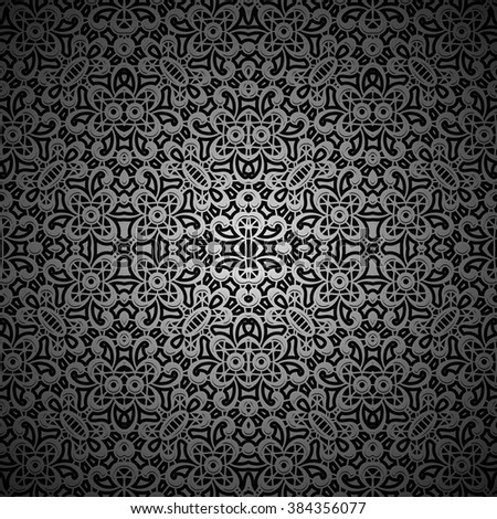 Vintage ornamental black background, lacy lattice, vector seamless pattern - stock vector