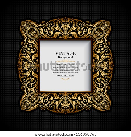 Vintage ornamental frame, rich, royal, luxury design, creative, trendy gold element for page and web decoration on black abstract background - stock vector