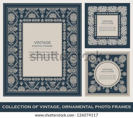 Vintage, ornamental photo frames, elegant floral ornaments, baroque blue patterns, antique ornate style, luxury cards - stock vector