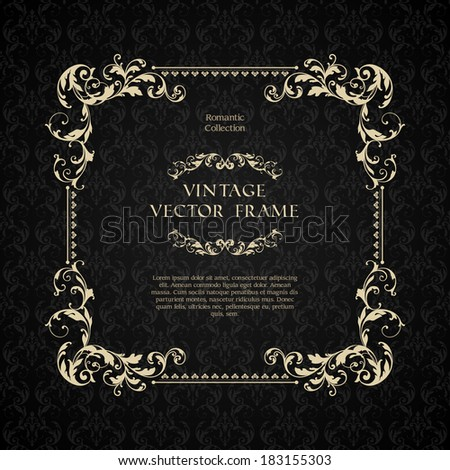 Vintage ornamental template with pattern and decorative frame - stock vector