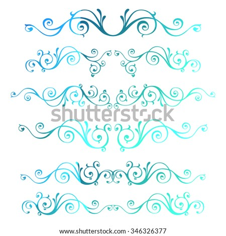 Vintage ornamental vector frames. Blue calligraphic winter New Year theme. Christmas decoration isolated on white. - stock vector
