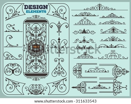 Vintage Ornaments Decorations Design Elements - stock vector