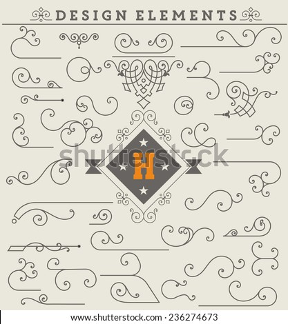 Vintage Ornaments Decorations Design Elements.  Vector stock - stock vector