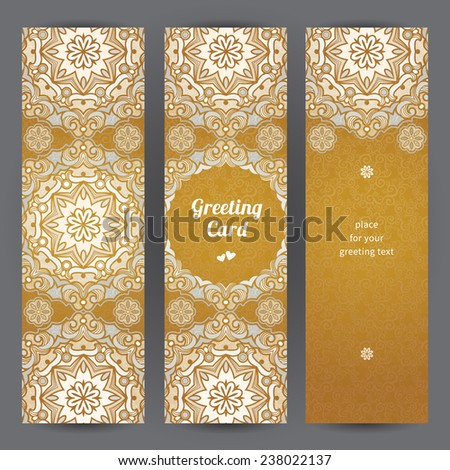 Vintage ornate cards in Eastern style. Golden floral decor with circle ornaments. Template ornamental frame for greeting card and wedding invitation. Filigree vector border and place for your text. - stock vector