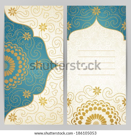 Vintage ornate cards with flowers and curls. Golden Victorian floral decor. Template frame for greeting card and wedding invitation. Ornate vector border in east style. Place for your text. - stock vector